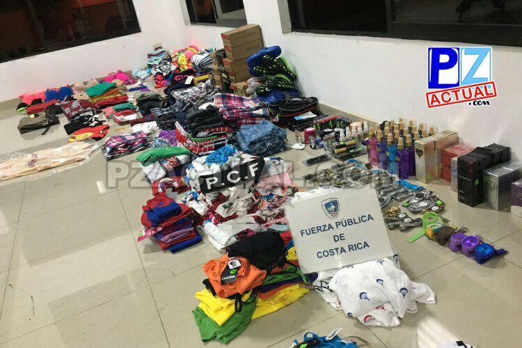 Fuerza Pública sigue decomisando licores, perfumería, zapatos y ropa de contrabando en la Zona Sur.