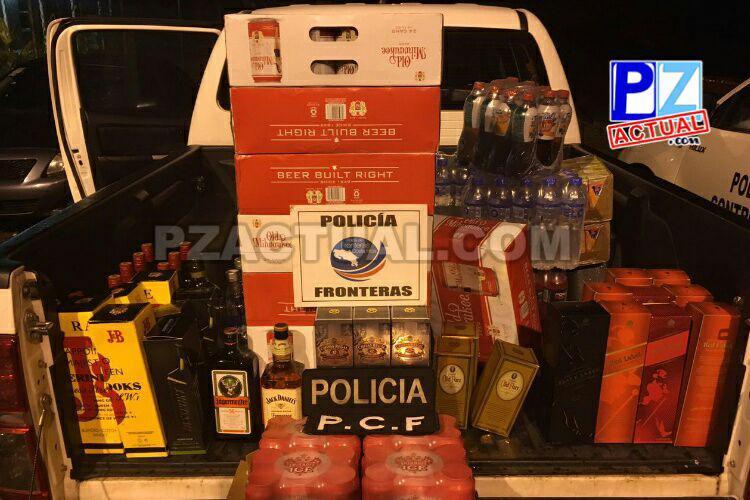 Policía de Fronteras detuvo microbús cargado de licores en Golfito.