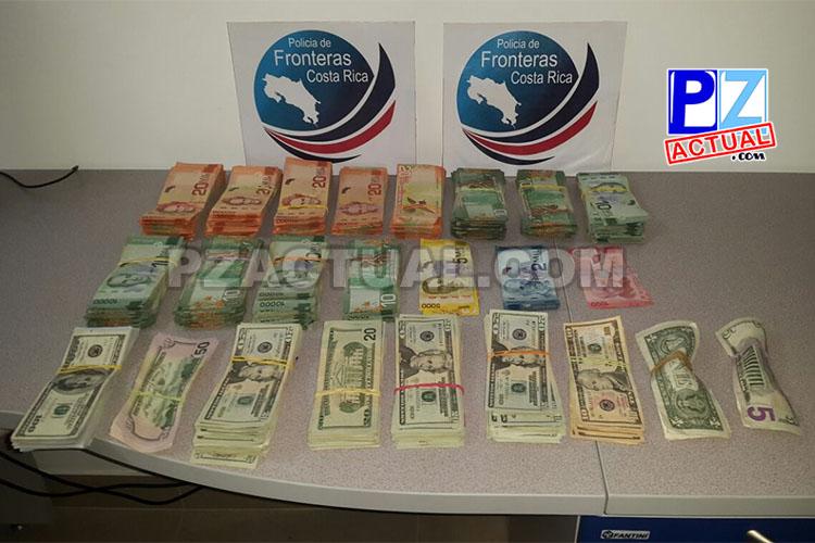 Policía de Fronteras del MSP decomisó anoche fuerte cantidad de dinero en cantón de Coto Brus.