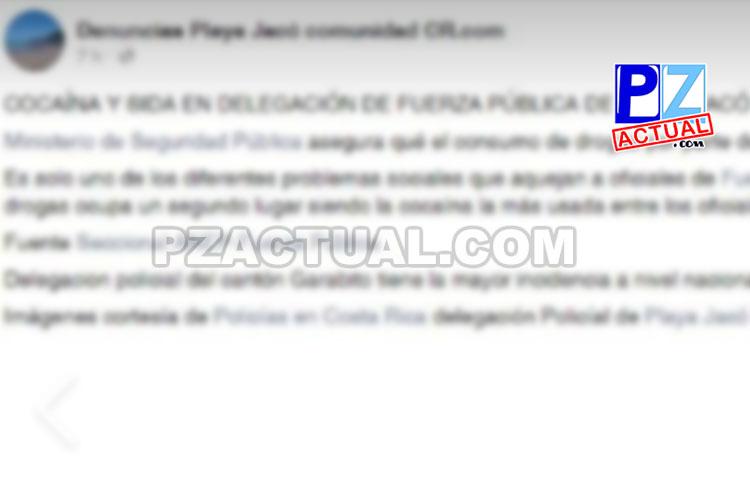 Autoridades desmienten publicación sobre supuestas drogas y VIH-SIDA en Delegación de Fuerza Pública de Jacó.