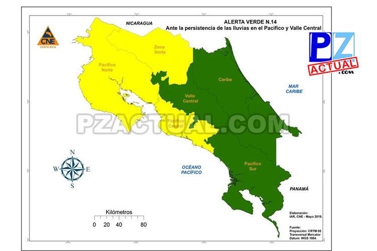 CNE declara Alerta Amarilla por fuertes lluvias y saturación de suelos.